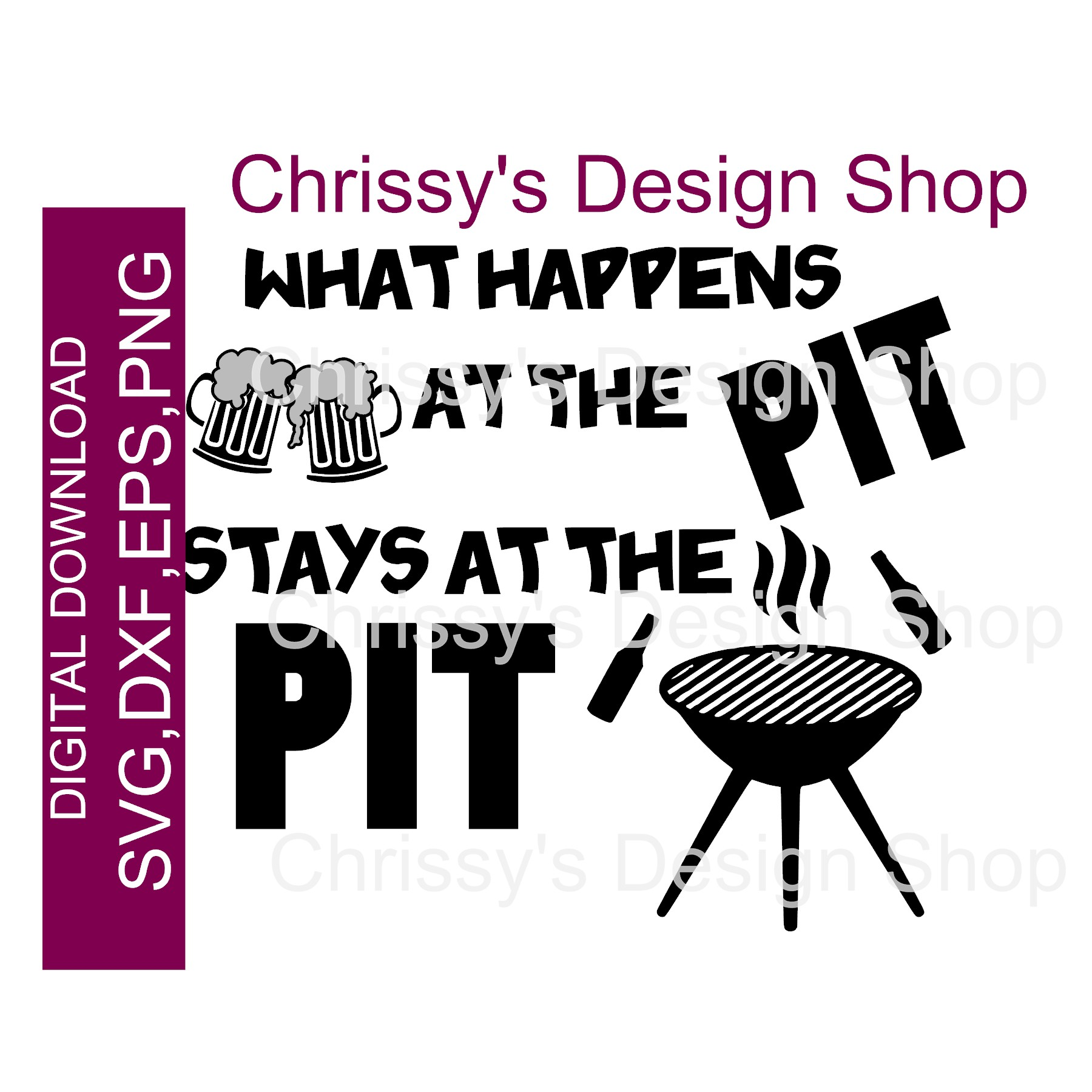 BBQ pit SVG template DXF EPS