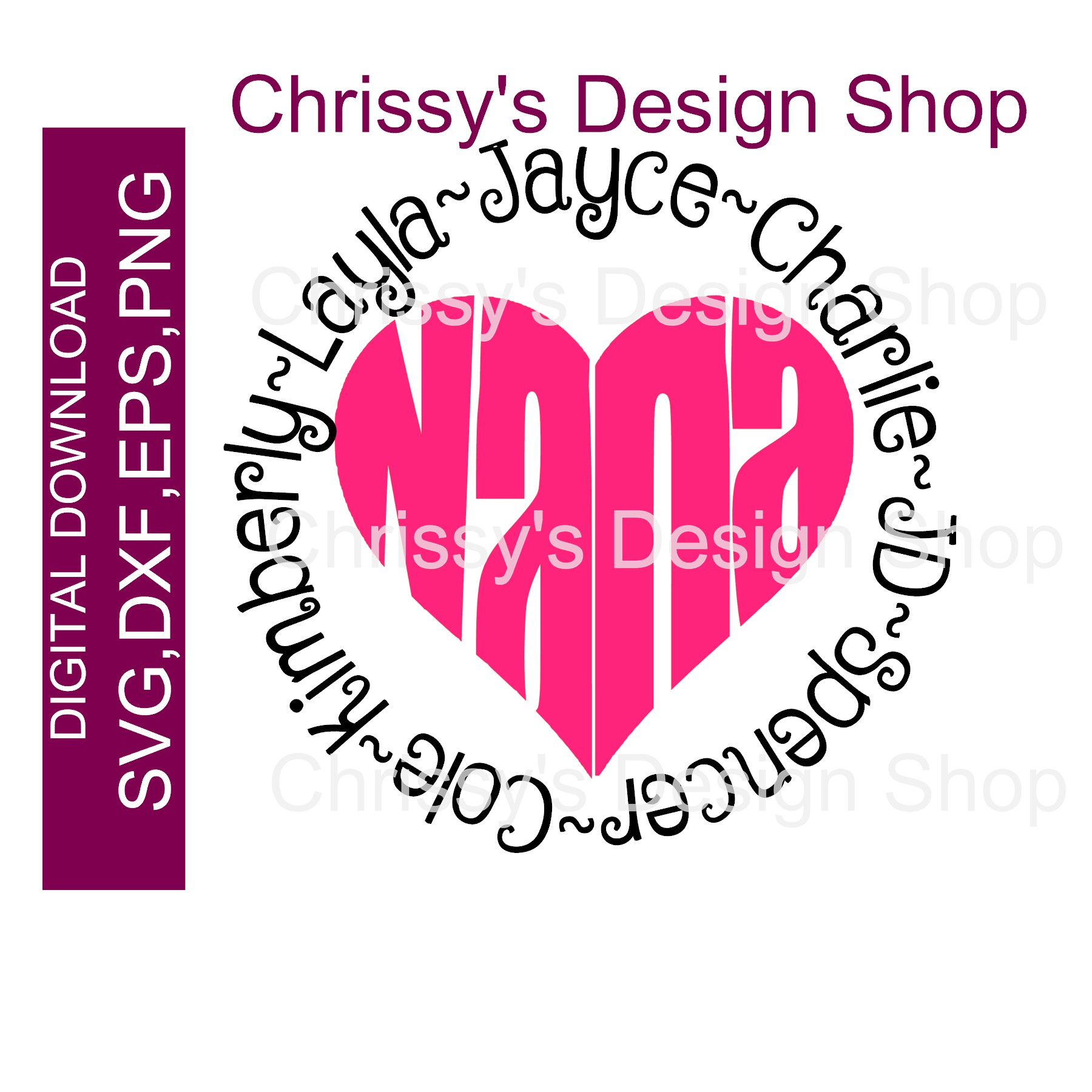 Download Nana heart with circled Grandkids SVG DXF PNG - Chrissy's ...