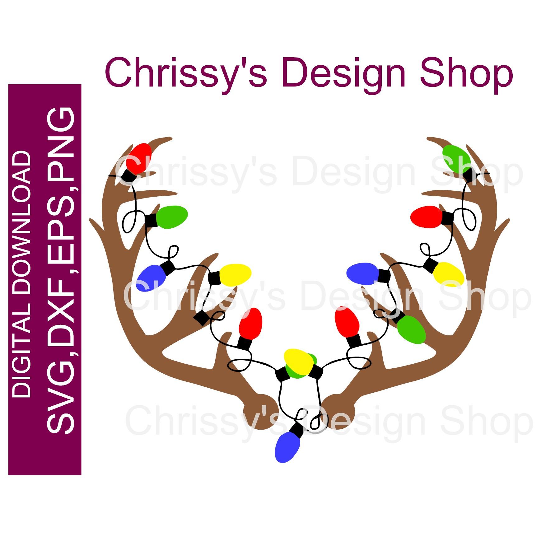 Christmas Deer Antlers And Lights Svg Dxf Eps Chrissy S Design Shop